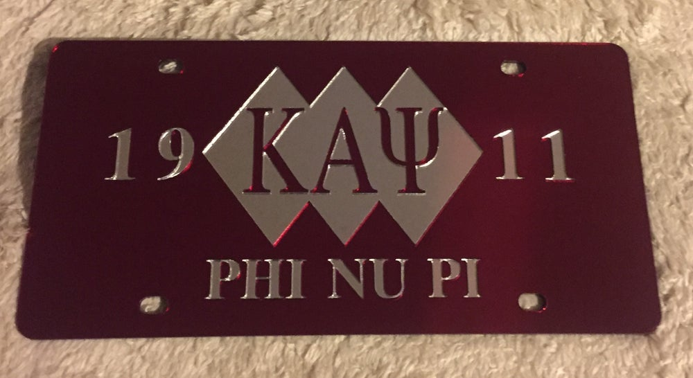Image of 3-Diamond Kappa Alpha Psi Crimson License Plate