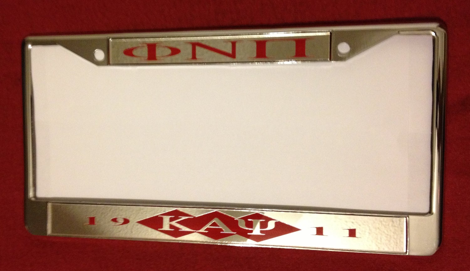 Image of Phi Nu Pi Chrome License Plate Frame (ΦNΠ #1)