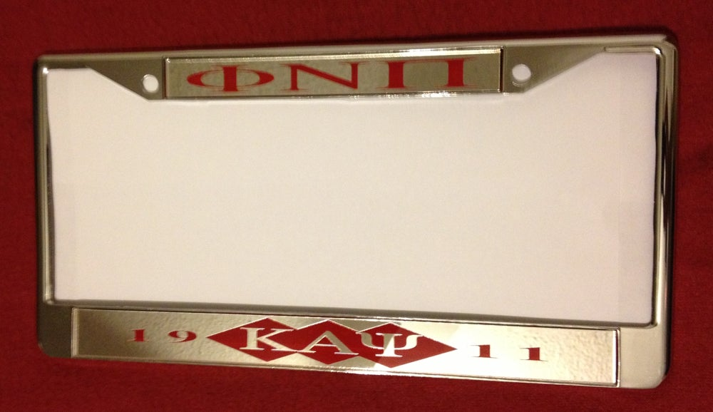 Image of Phi Nu Pi Chrome License Plate Frame (ΦNΠ #2)
