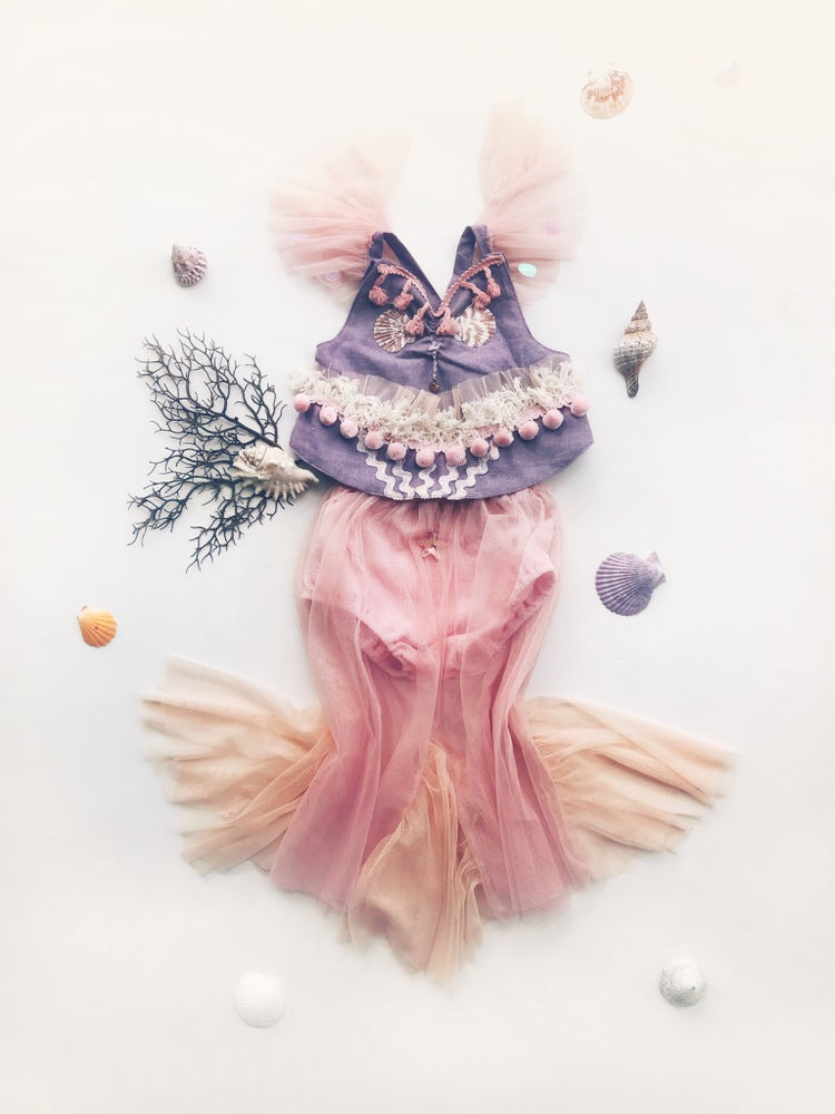 Image of mermaid crops | purple + green