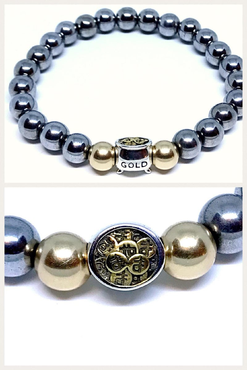 "Image of 'PotLuck"" 8mm hematite stretch bracelet with 10k gold beads"
