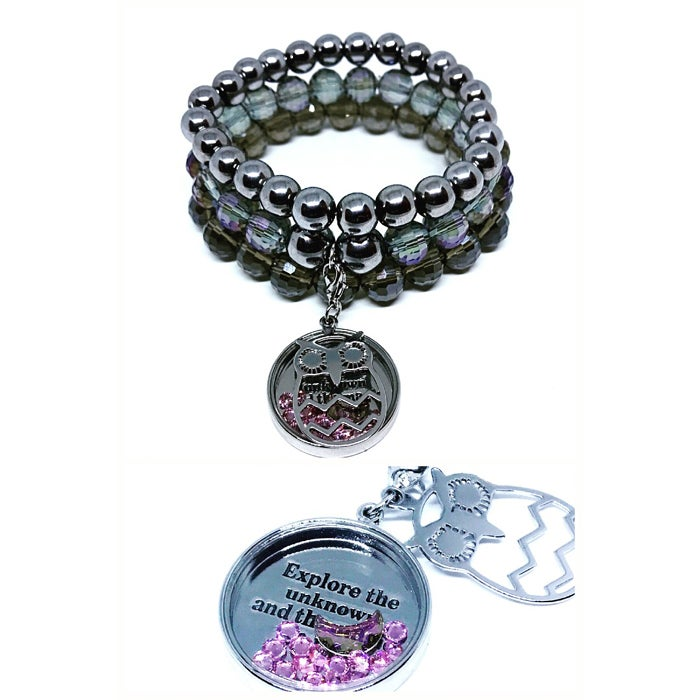 "Image of ""Owl message for you"" Triple stacked 8mm hematite stretch bracelet with Owl charm."