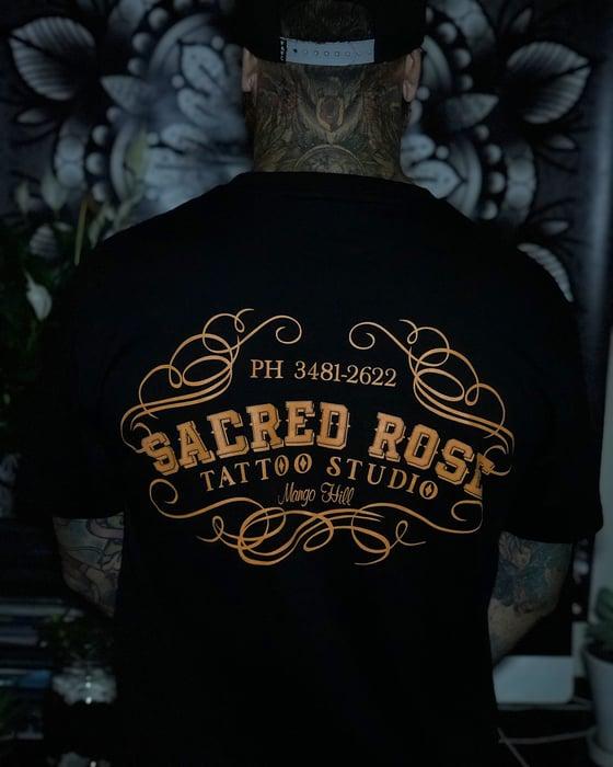 Image of Orange Sacred Rose Tattoo Shirt