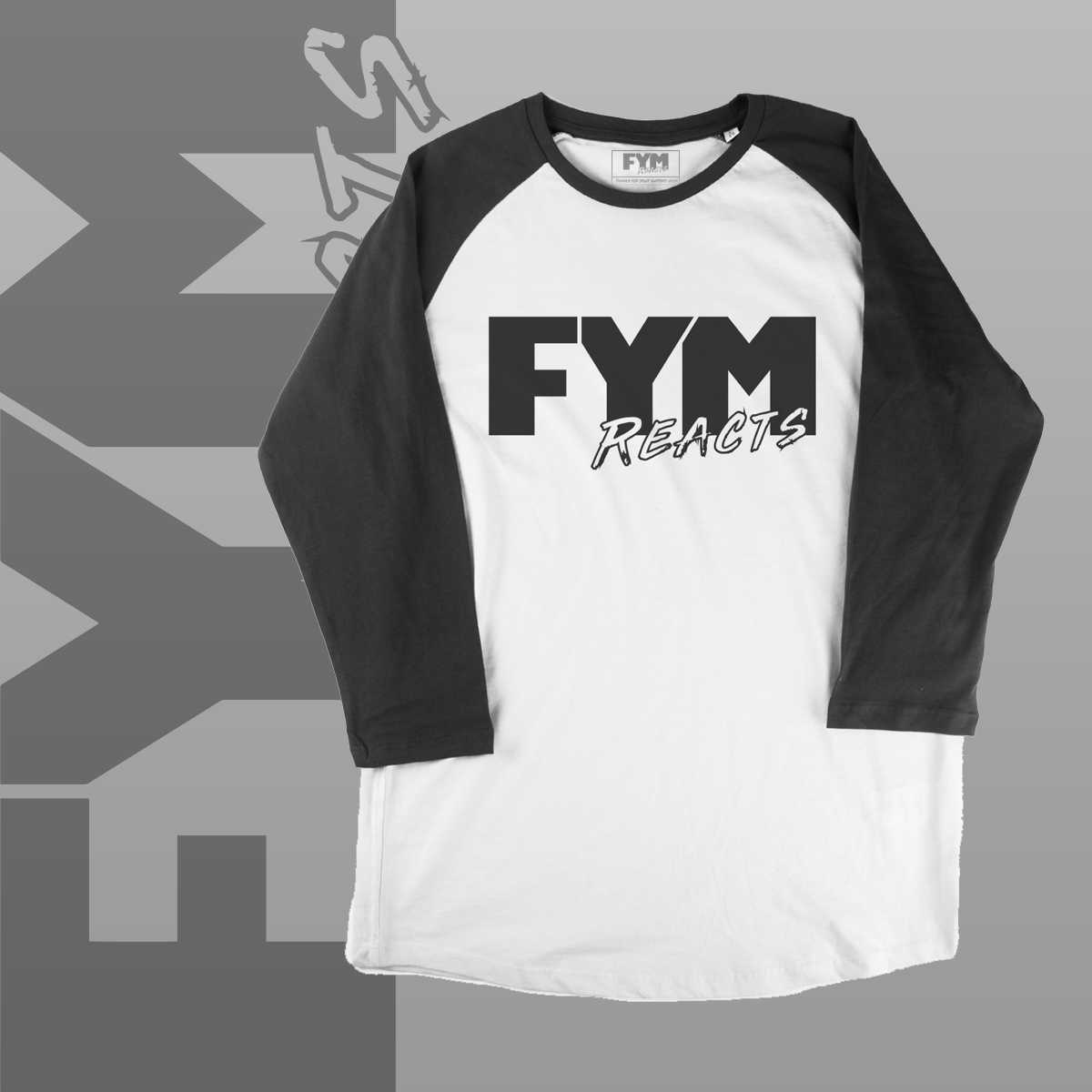 Image of FYM Reacts Logo 3/4 Sleeve Raglan