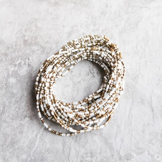Image of White and Gold waist bead
