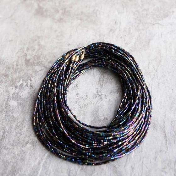 Image of Blue metallic jewel waist bead