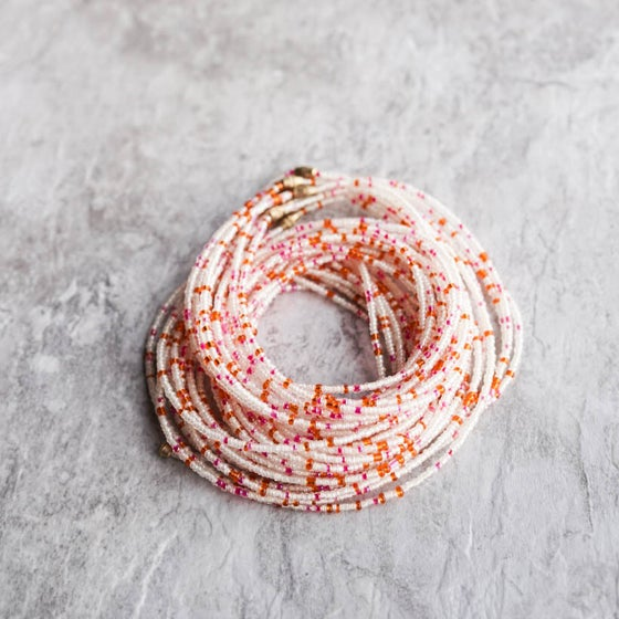 Image of White, Pink, and Orange Waist bead
