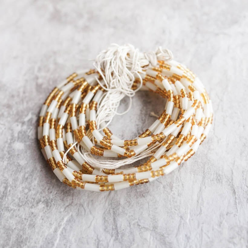 Image of Thick White and Gold tie Waist bead