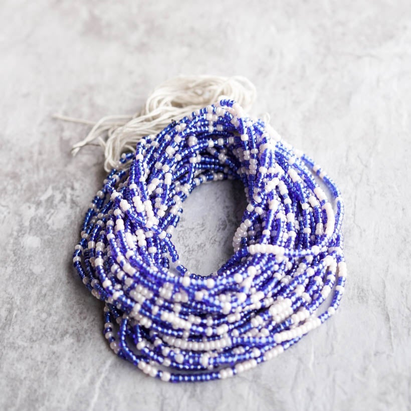 Image of Royal Blue and White tie Waist bead