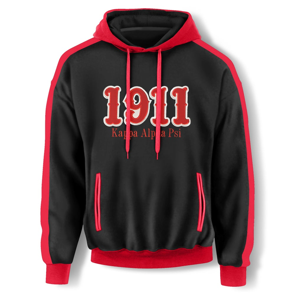 Image of BLACK HOODED SWEATSHIRT - 1911