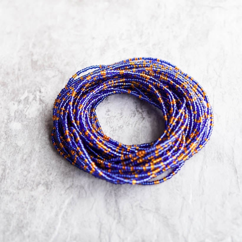 Image of Royal blue and orange waist bead