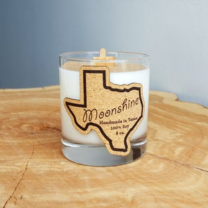 Image of Whiskey Glass Texas Candle - Moonshine Scent - 100% Natural Soy Candle Hand Poured with Wood Wick