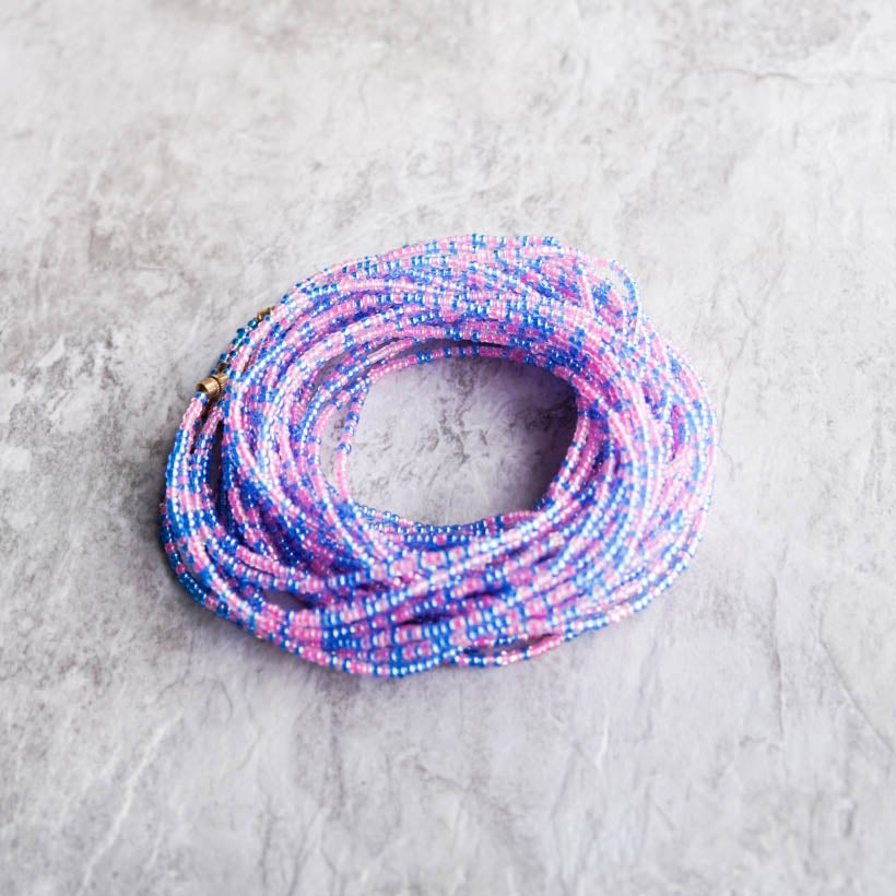 Image of Pink and blue waist bead