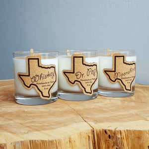 Image of Whiskey Glass Texas Candle - Dr. Pop Scent - 100% Natural Soy Candle Hand Poured with Wood Wick