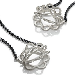 Image of Silver Geometric Floral Necklace
