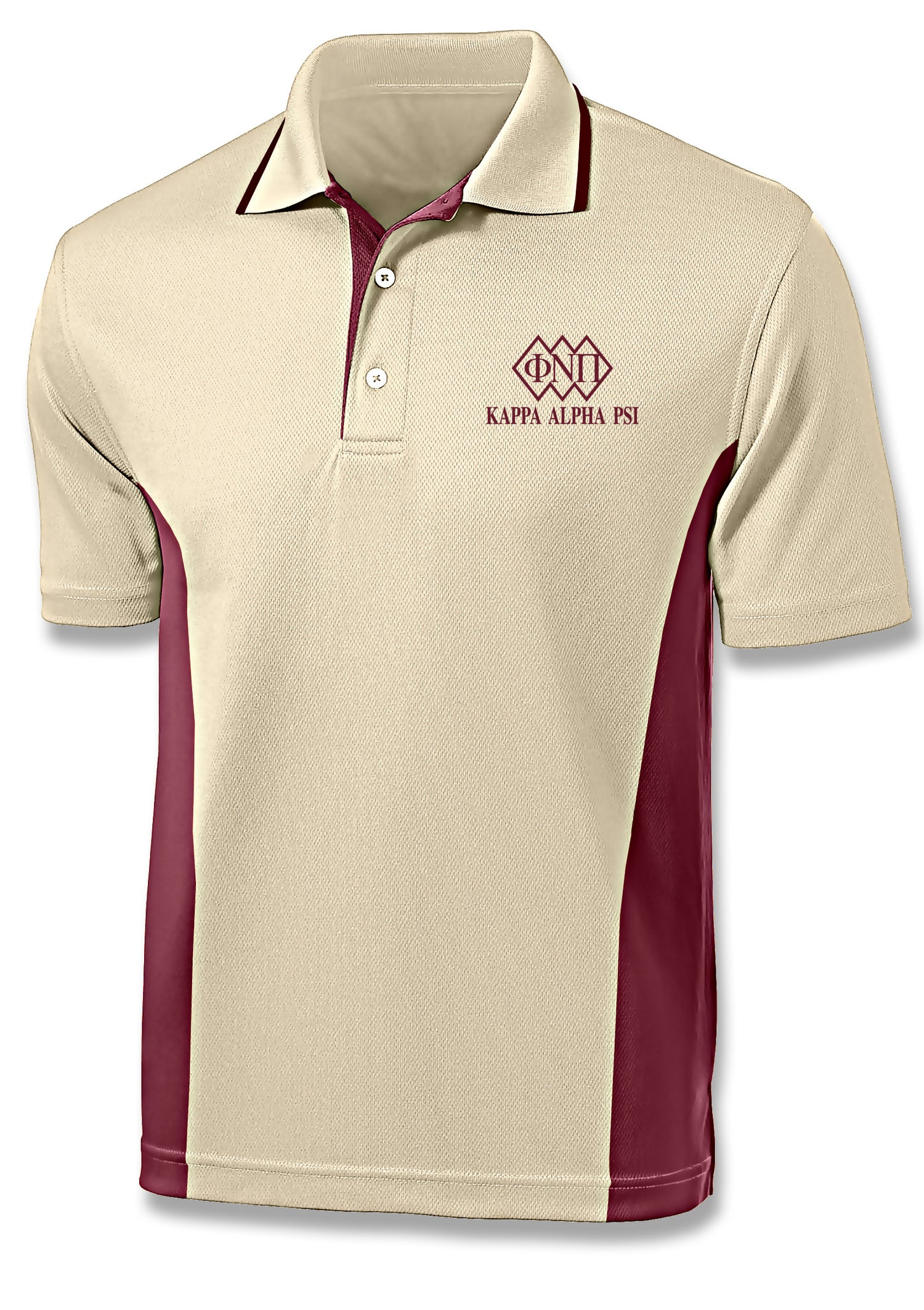 Image of ΦNΠ 3-Diamond Design Cream/Crimson Sport Polo