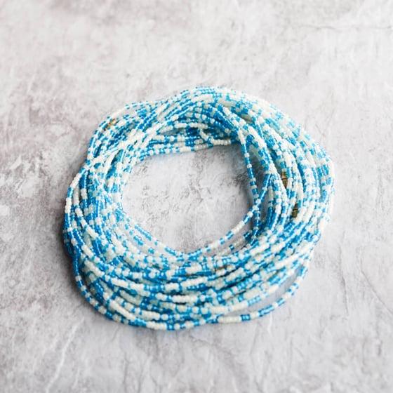 Image of Sky blue and white waist bead