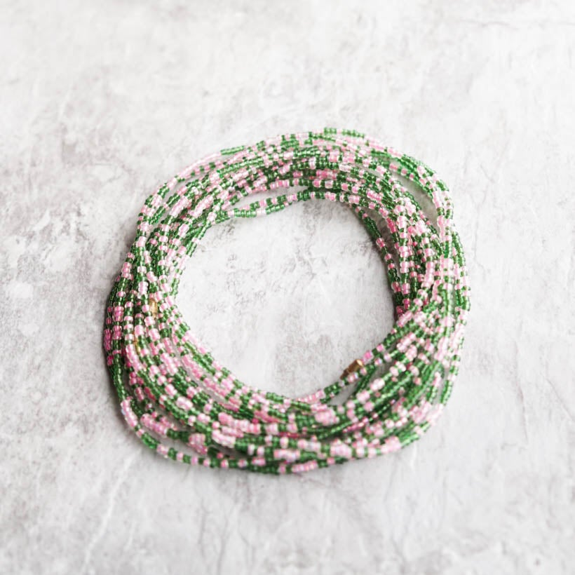 Image of Pink and green waist bead