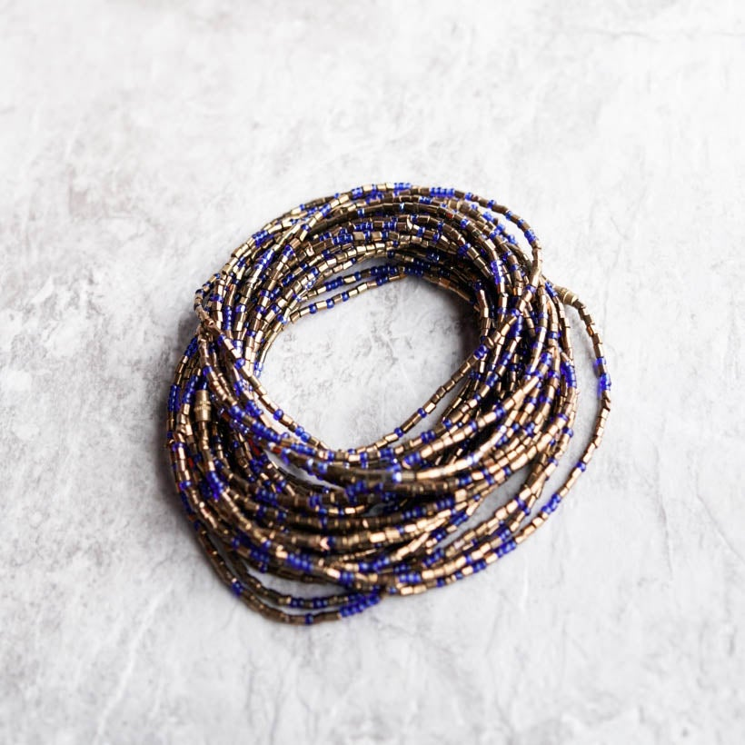 Image of Gold and royal blue glass waist bead