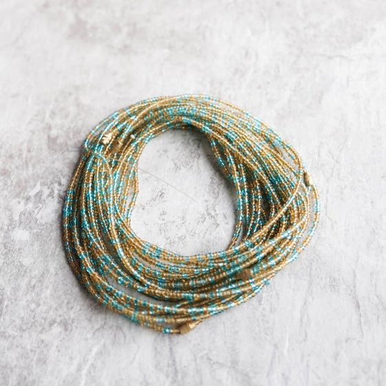 Image of Gold and Turquoise waist bead