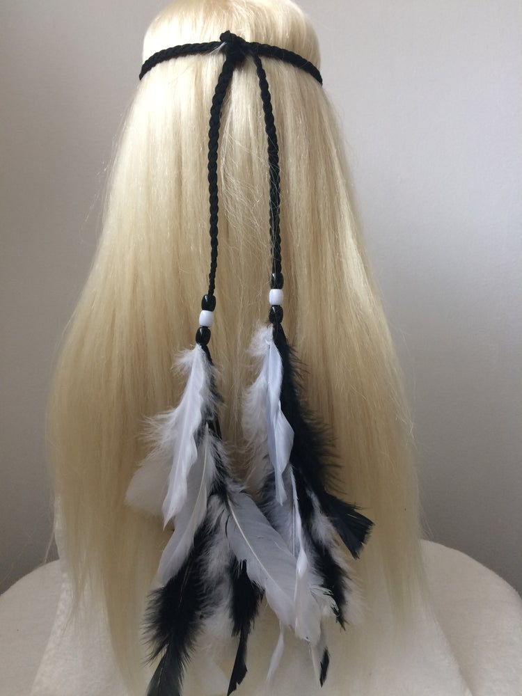 Image of Braided Faux Feather Head Tie / Black