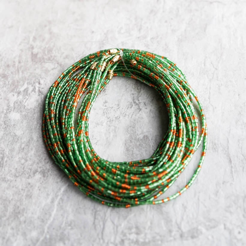 Image of Green and Orange glass bead