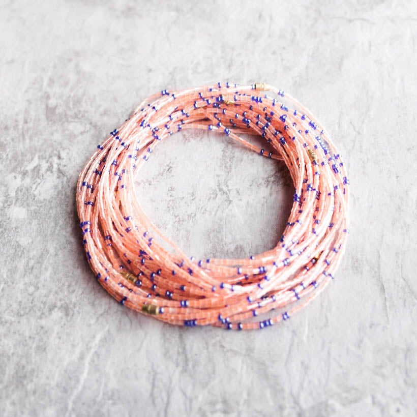 Image of Peach and Blue glass waist bead