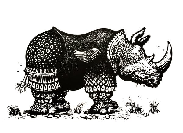 Image of Rhinoceros (after Dürer) linocut