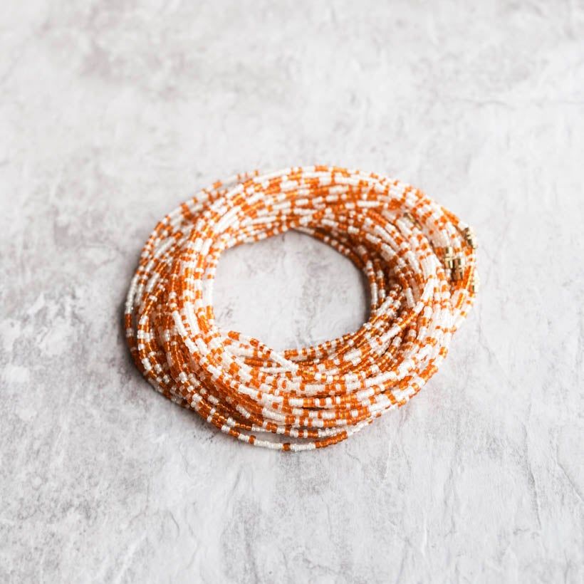 Image of Orange and White Waist bead