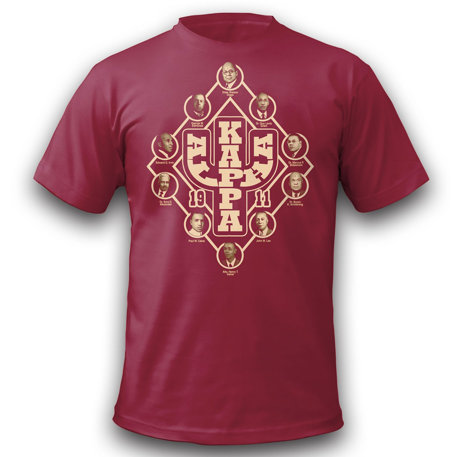 Image of Kappa Founders T-Shirt Discharge Print - Crimson !! CLOSEOUT!!