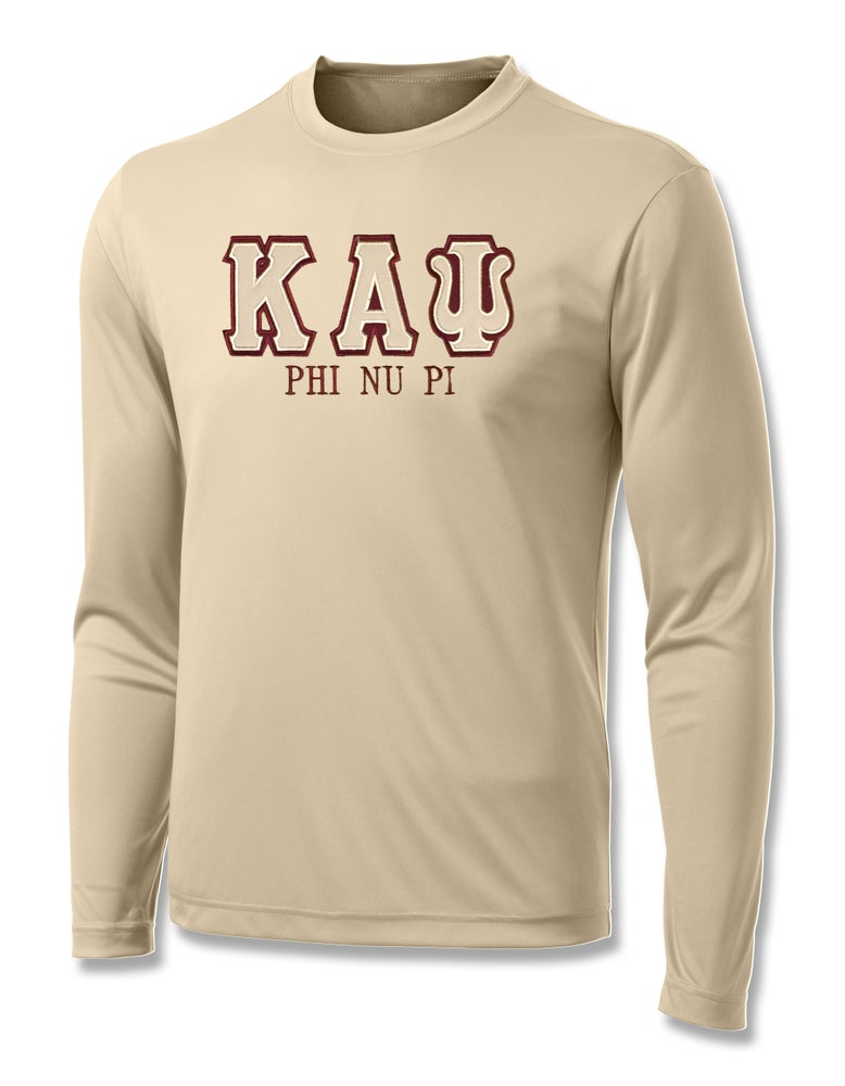"Image of INDUSTRY FIRST ""KAΨ"" DRY-FIT LONG SLEEVED SHIRT (CREAM)"