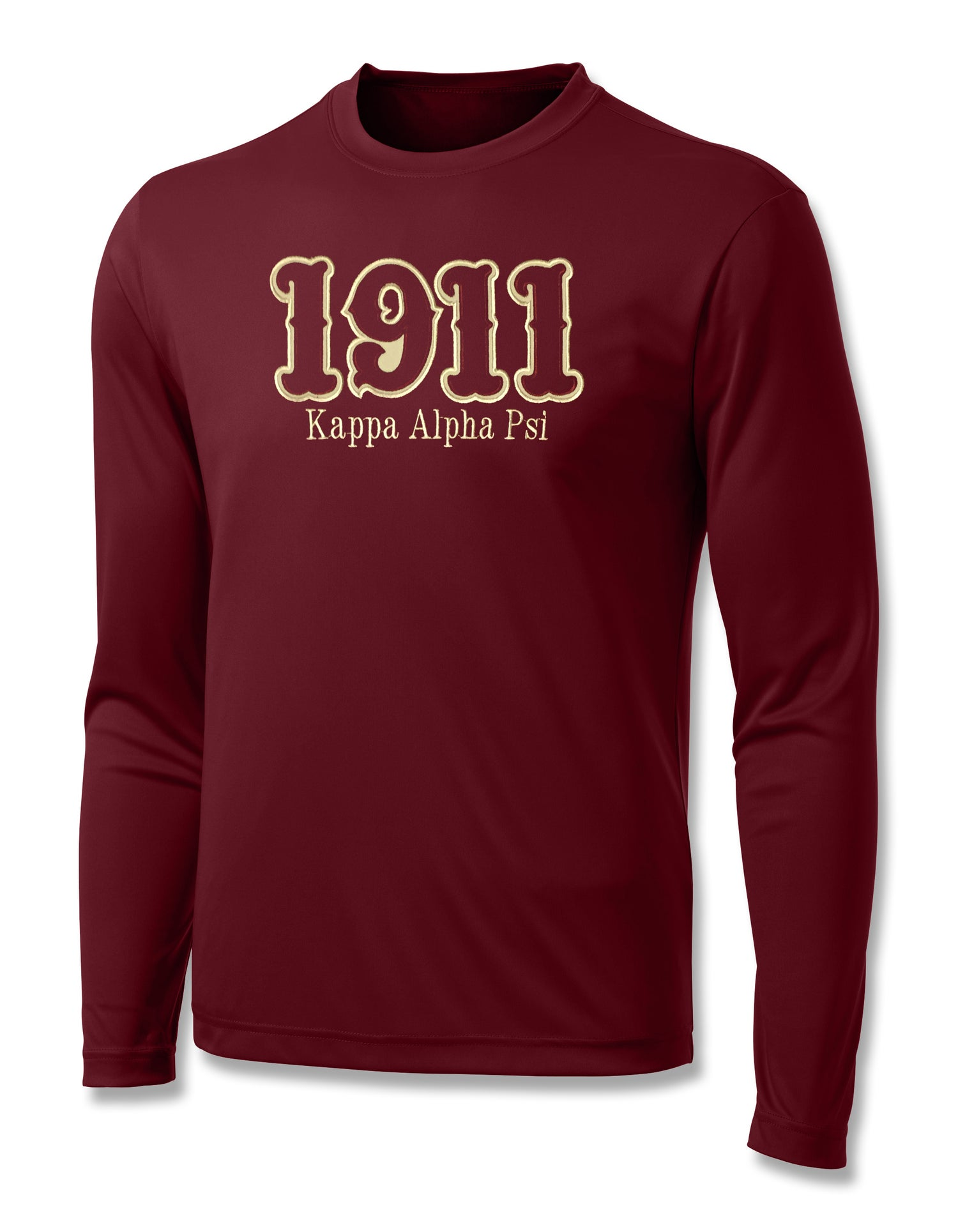 "Image of INDUSTRY FIRST - ""1911"" DRY-FIT LONG SLEEVED SHIRT (CRIMSON)"