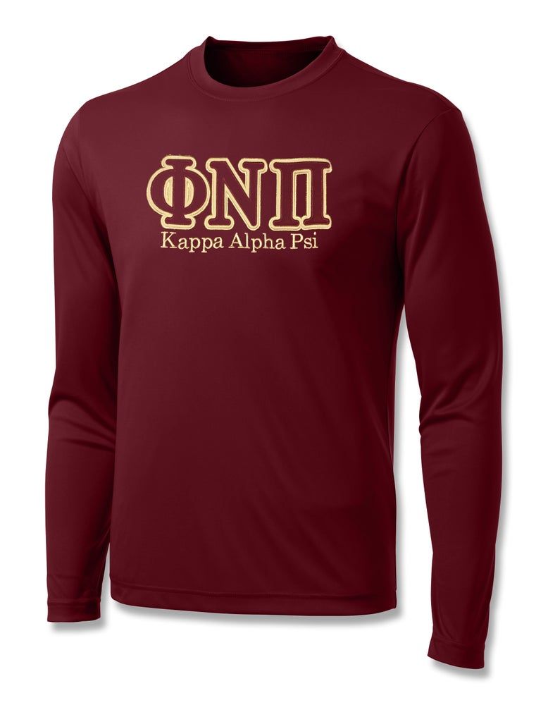 "Image of INDUSTRY FIRST - ""ΦNΠ"" DRY-FIT LONG SLEEVED SHIRT (CRIMSON)"