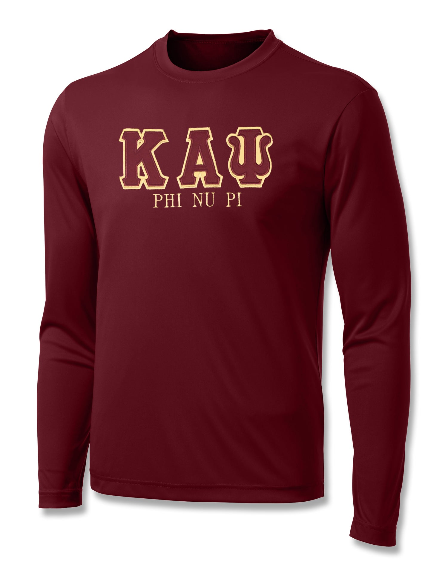 "Image of INDUSTRY FIRST ""KAΨ"" DRY-FIT LONG SLEEVED SHIRT (CRIMSON)"
