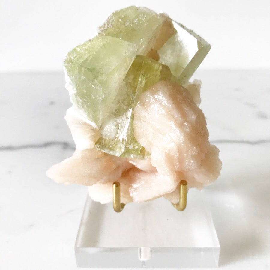 Image of Apophyllite/Stilbite no.963 + Lucite and Brass Stand Pairing