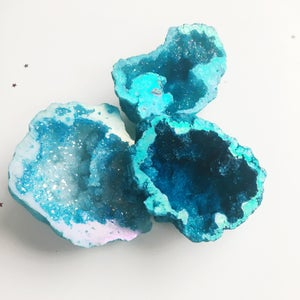 Image of Aura Quartz Crystal Geode - sky blue tones