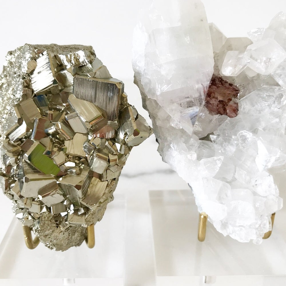 Image of Peruvian Pyrite no.41 + Lucite and Brass Stand Pairing