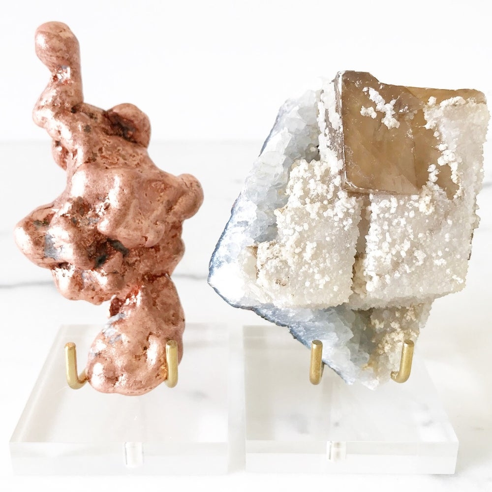 Image of Calcite no.41 + Lucite and Brass Stand Pairing