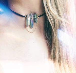 Image of Lyra Chain Choker - Aura Quartz + faux suede
