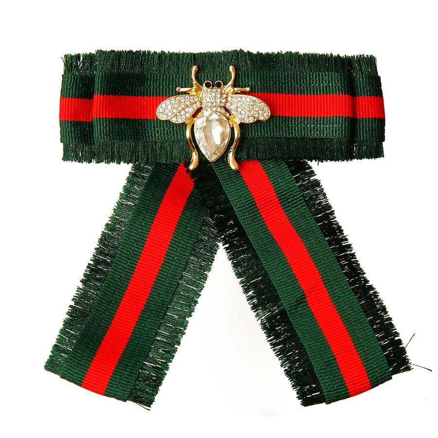 Image of Green Rhinestone Bee Striped Bow Tie