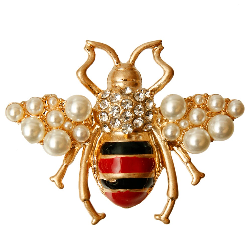 Image of Rhinestone Bee Striped Brooch