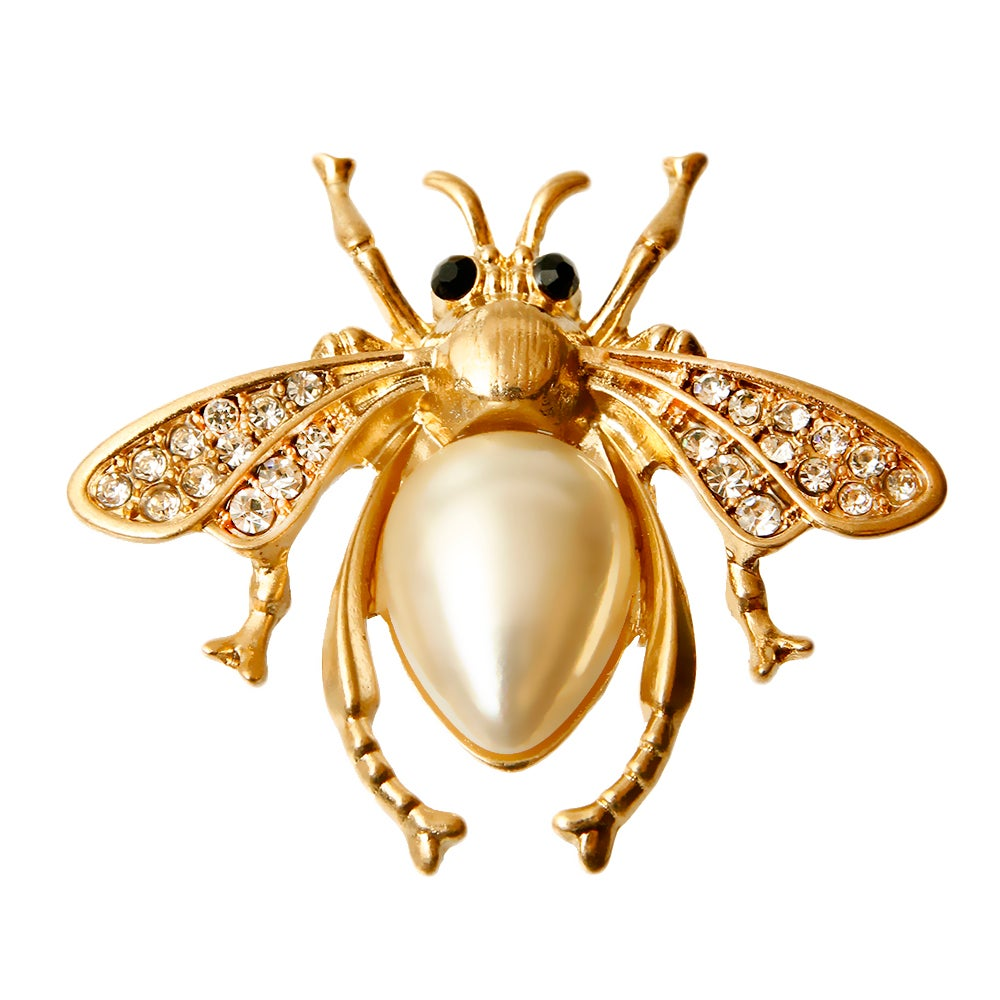 Image of Rhinestone and Pearl Bee Brooch