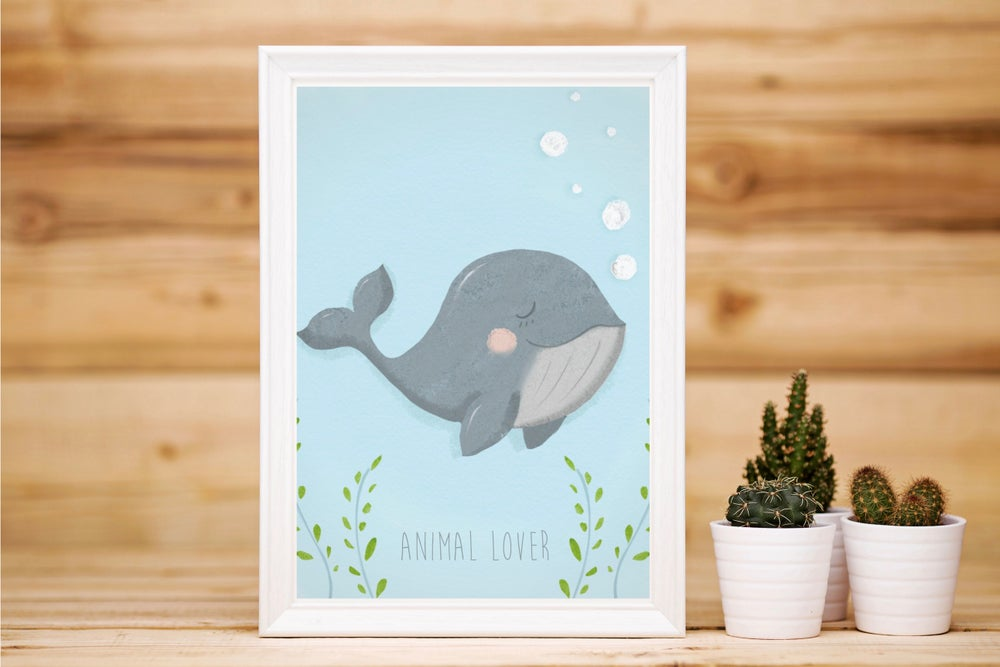 Image of Affiche carte postale - Animal lover Baleine
