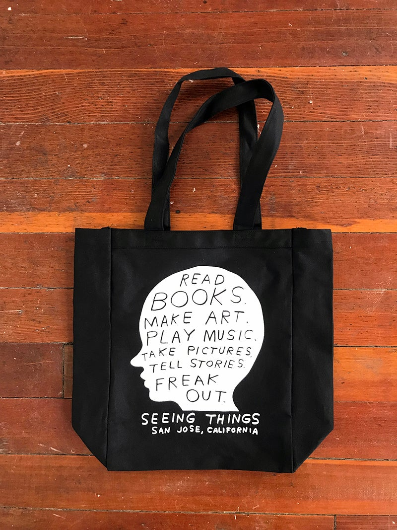 "Image of Nathaniel Russell ""Head case"" black tote bag"