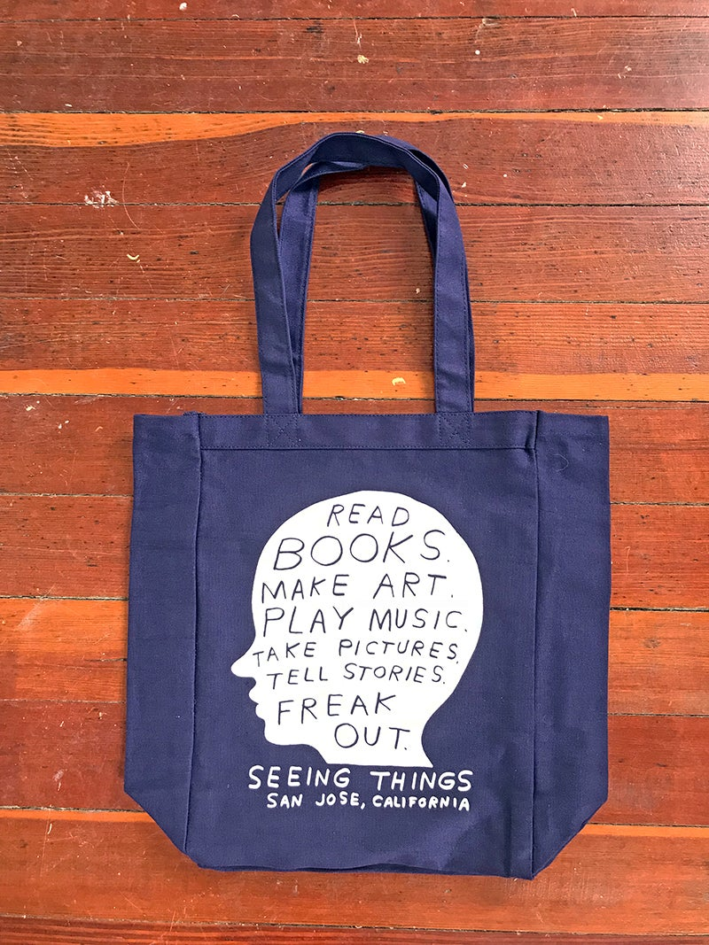 "Image of Nathaniel Russell ""Head case"" blue tote bag"