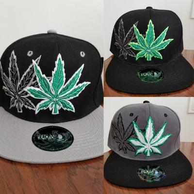 """Image of """"Marijuana Leaves"""" Custom Snapback Hats"""