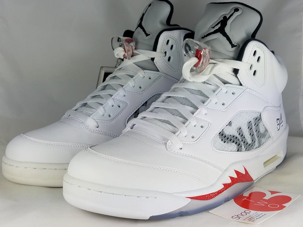 "Image of Air Jordan 5 Retro ""Supreme"" White"
