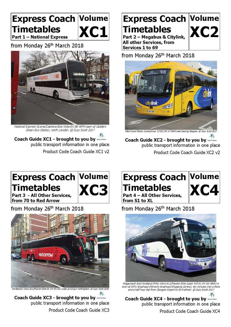 Image of Express Coach Timetables - CD/DVD-ROM VERSION - all four parts on disc - March 2018