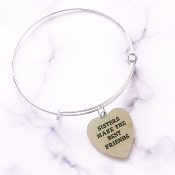 Image of SISTERS MAKE THE BEST FRIENDS BANGLE BRACELET