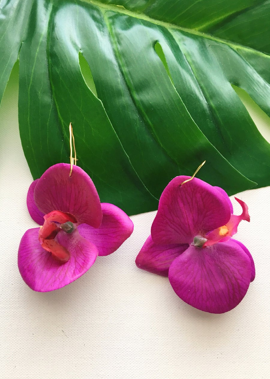 Image of FLOWER GANG Purple Orchid Earrings